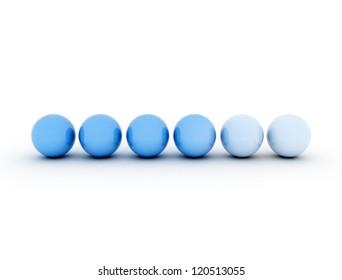 row of gradient blue spheres