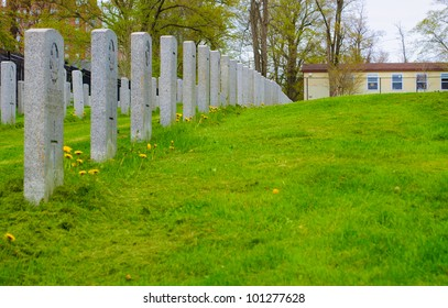 row of grave stones on green grass