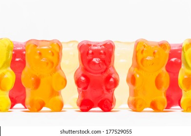 Row of gummy candies as a concept of candy