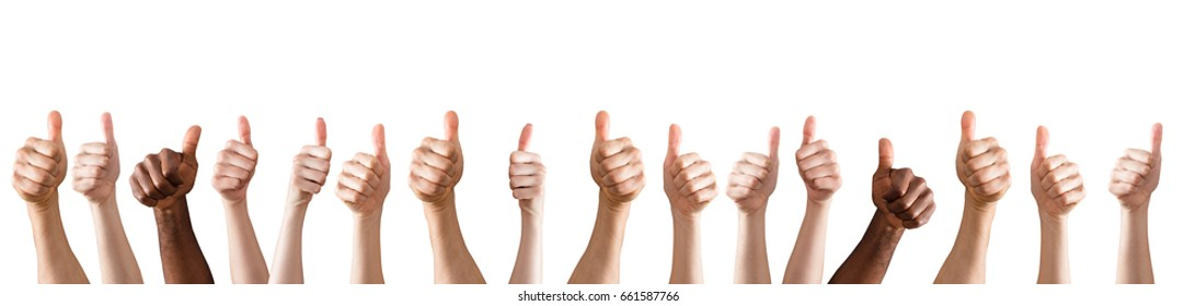 Row Of Hands Showing Thumb Up Sign Against The White Background