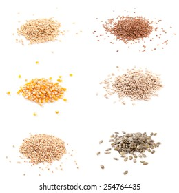 Row healthy grain food (corn, flax, buckwheat, wheat, pumpkin seed, sunflower seeds ) isolated on white background