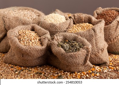 Row healthy grain food (sesame, flax, buckwheat, wheat, pumpkin seeds, sunflower seeds) in jute sack.
