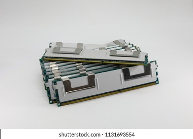 row of High performance DDR RAM memory module isolated on white background