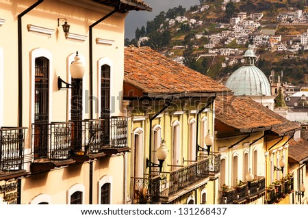 Row of historic colonial buildings in Quito, Ecuador