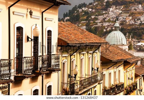 Row of historic colonial buildings in Quito, Ecuador