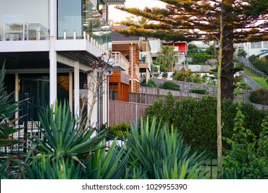 Row of house courtyards separated by wooden fences in an Australian suburb. Suburban residential buildings with green backyards at Kiama, New South Wales, Australia.