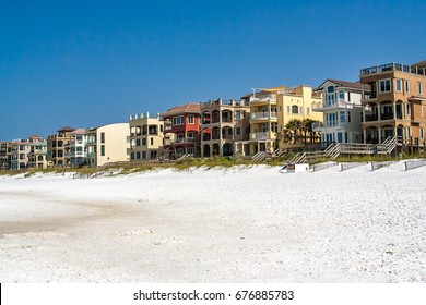 A row of houses along the beach in Destin, Florida