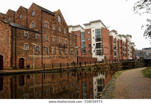 Row of houses along canal in England, Wolverhampton