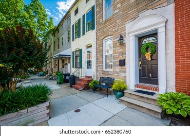 Row houses along Chester Street, in Upper Fells Point, Baltimore, Maryland.