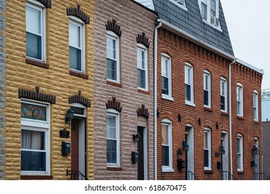Row houses in Canton, in Baltimore, Maryland.