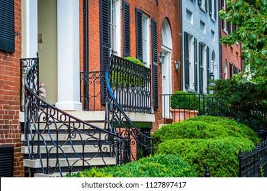 Row houses in Georgetown, Washington, DC.