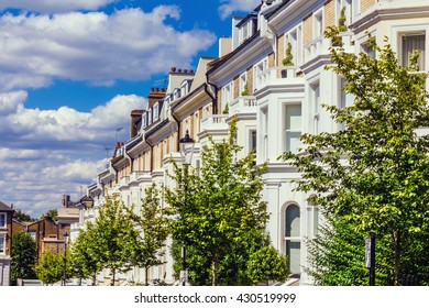 Row of houses in London's wealthy neighborhood Notting Hill.