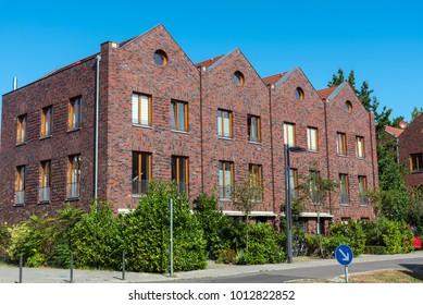 Row houses made of red bricks seen in Berlin, Germany