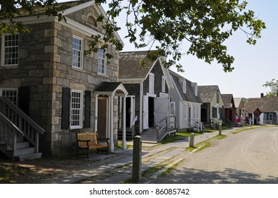 Row of Houses, Mystic Seaport, Mystic, Connecticut, USA