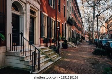 Row houses near Rittenhouse Square, in Philadelphia, Pennsylvania.
