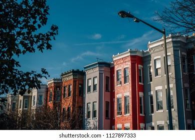Row houses near U Street, in Washington, DC.