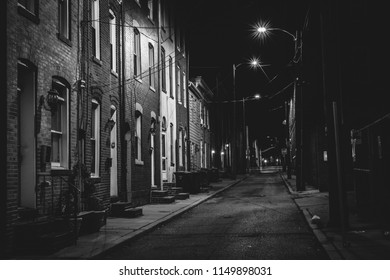 Row houses at night, in Fells Point, Baltimore, Maryland