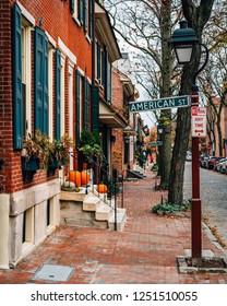Row houses on Delancey Street and American Street sign in Society Hill, Philadelphia, Pennsylvania.