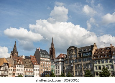 row of houses at the Place Cleber in Strasbourg / France