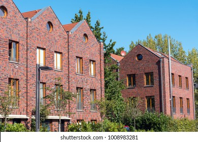 Row houses with red bricks seen in Berlin, Germany