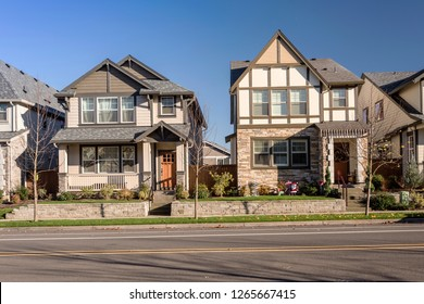 Row of houses in a suburb in Wilsonville Oregon.