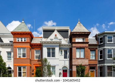 Row houses in the Washington DC neighborhood of Bloomingdale on a summer day.