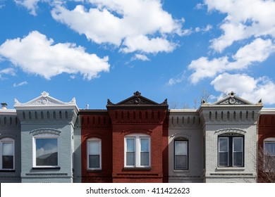 Row houses in Washington DC on a spring day.