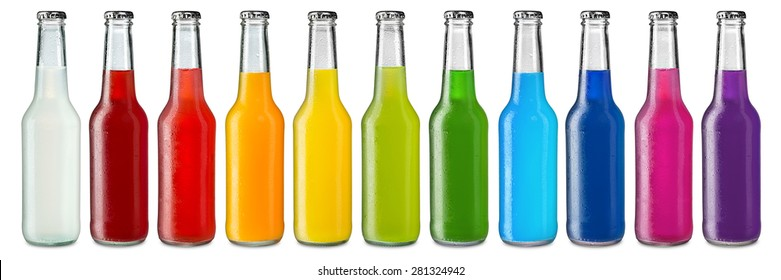 row of ice cold colorful soft drinks