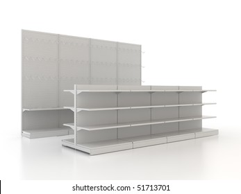 Row of isolated shop shelves