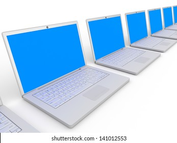 Row of laptops with blue screen on white background. 3D illustration.