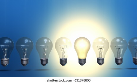 row of light bulbs with one different from the others 3D illustration