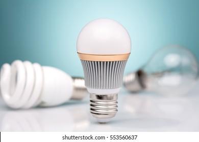 Row of light bulbs.Idea concept on blue background.