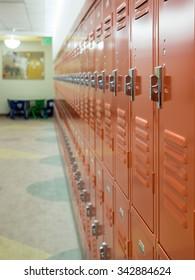 Row of Lockers in School Hall