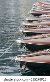 Row of luxurious Italian speedboats.