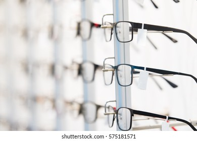 Row of luxury eyeglass at an opticians store