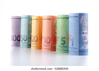 Row of Malaysia Ringgit on white background