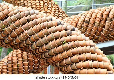 the row from many flowerpots of clay in Thailand