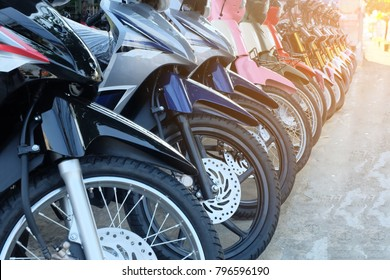 row of many motorcycle at the Showroom for sale