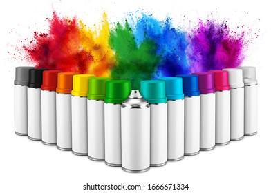 row of many spray can in colorful color in front of ainbow holi paint color powder explosion isolated on white background. Industry diy paintjob graffiti concept.