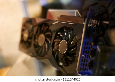 row of many video cards is on sale at showcase in store. graphics chipsets selling concept. mining price increase