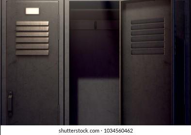 A row of metal gym lockers with one open door revealing tan empty interior - 3D render