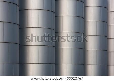 Row Metal Round Grain Storage Bins Stock Photo (Edit Now) 33020767