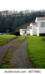 A Row of Mobile Homes in Sandy Haven Wales