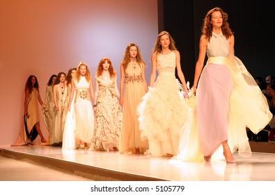 Row of models in a wedding  fashion show