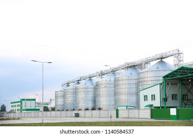 Row of modern granaries for storing cereal grains