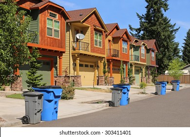 Row of modern houses in suburban neighborhood