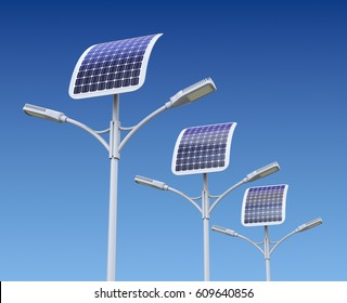 Row of modern LED street light lamp with solar panel - 3D illustration