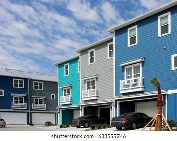 Row of modern new beach style condo/apartments