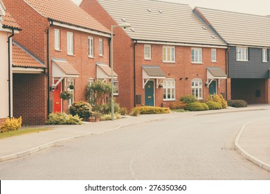Row of Modern newly built housing development