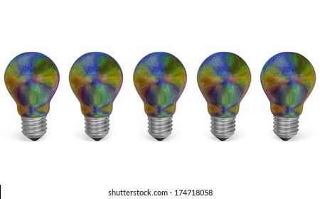 Row of multicolored iridescent light bulbs isolated on white background. Front view